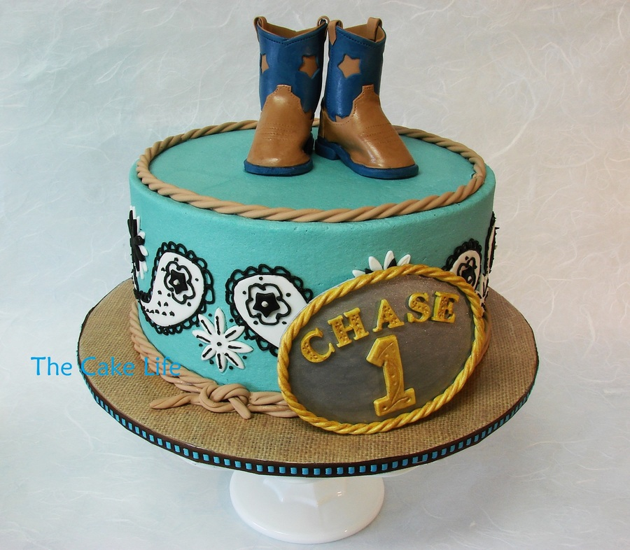 Cowboy Themed 1st Birthday Cake With Fondant Belt Buckle And Fondant
