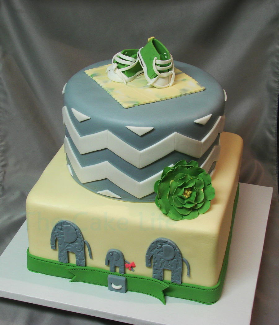 Green Yellow And Gray Chevron Baby Shower Cake With Fondant Chuck Taylors And Elephants on Cake Central