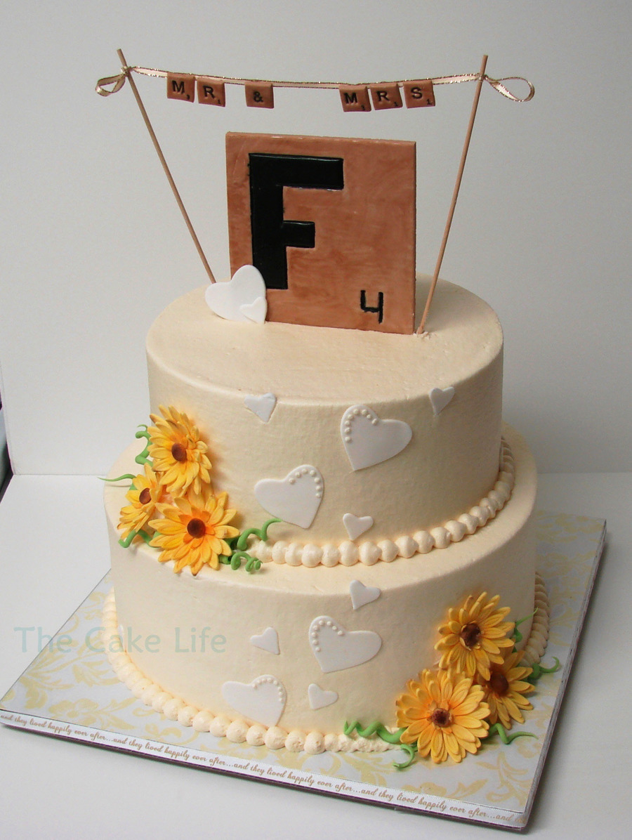 Scrabble Themed Wedding Shower Cake With Gumpaste Daisies on Cake Central