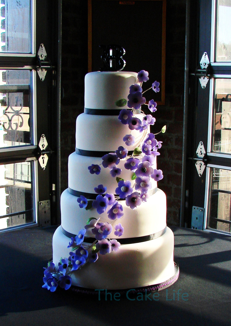 5 Tier Round Wedding Cake With Purple Flowers on Cake Central