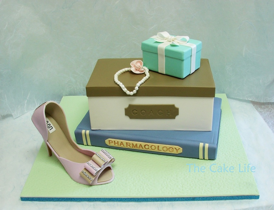 Shoe Box Cake With Tiffany Box And Book Made From Styrofoam Gumpaste Shoe Made Using Mold And Former From Swank Cake Design on Cake Central