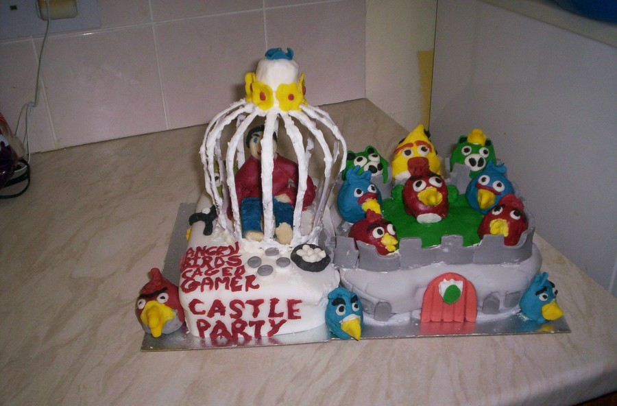 Angry Birds Caged A Gamer - So They Can Party At The Castle! on Cake Central