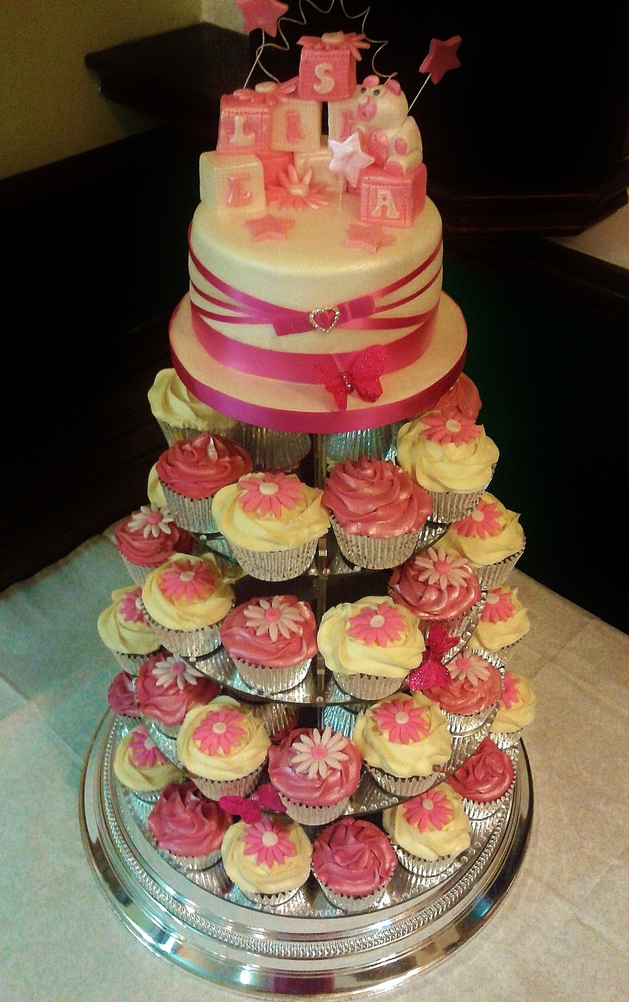 Pink Christening Cupcake Tower  on Cake Central