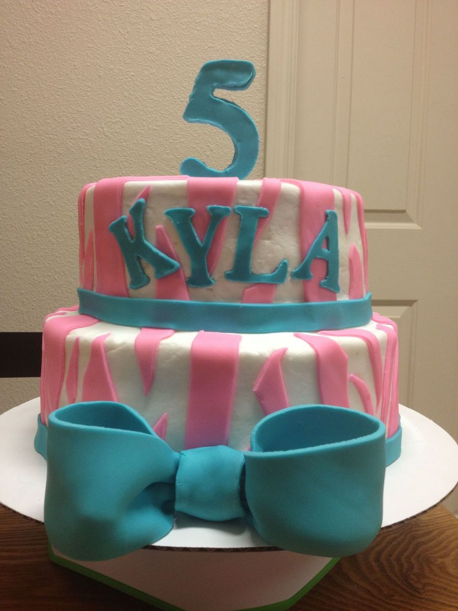 Pink And Turquoise Zebra Birthday Cake on Cake Central