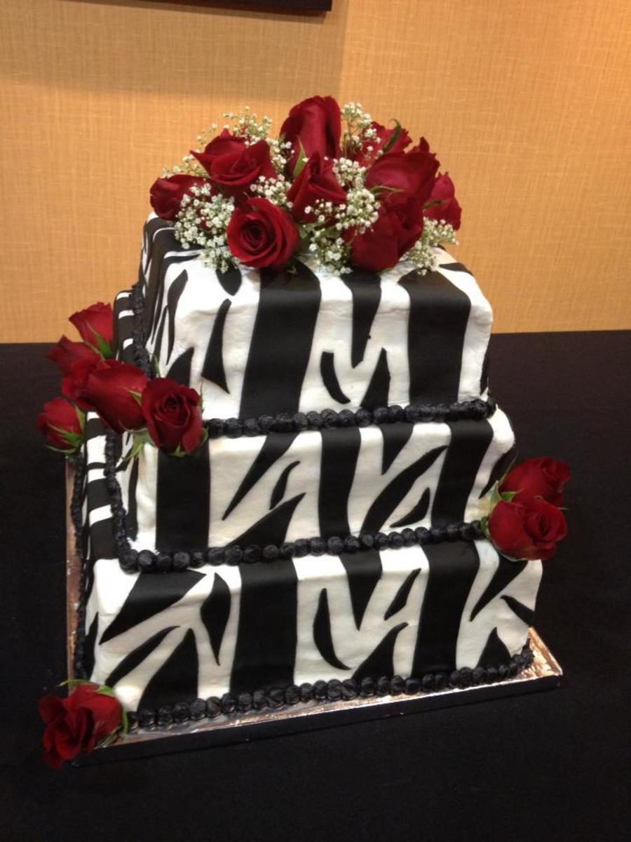 Zebra Print Wedding Cake With Red Roses  on Cake Central