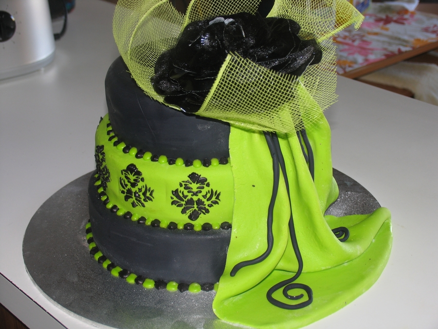 Lime Green / Black 18Th  on Cake Central