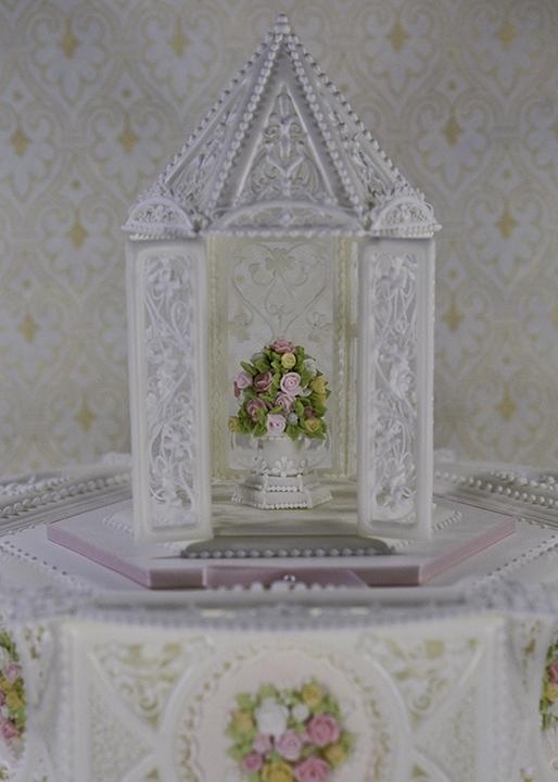 Royal Icing Paneled Cake With Royal Icing Gazebo Topper