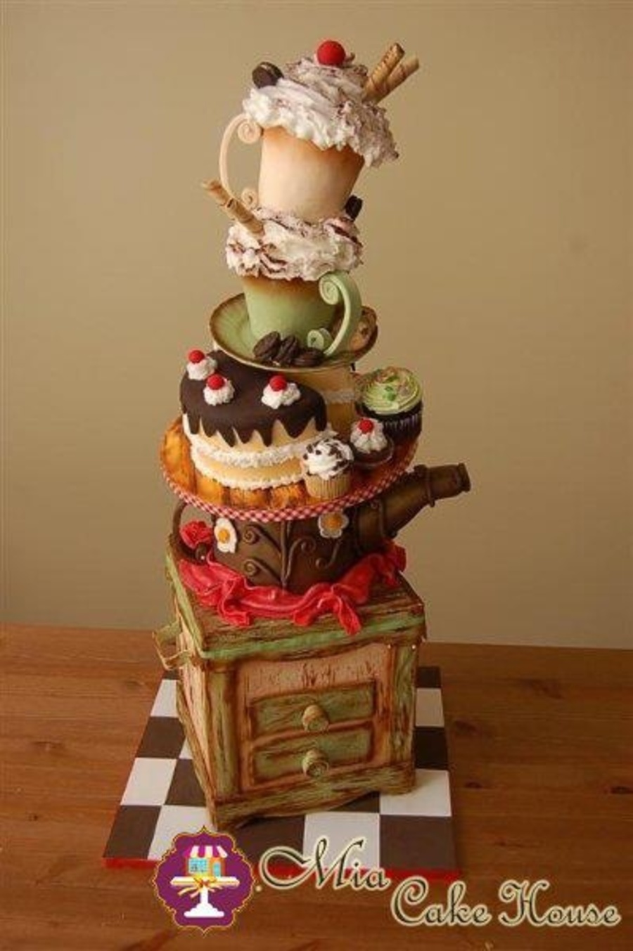 Vintage Coffee Tower on Cake Central