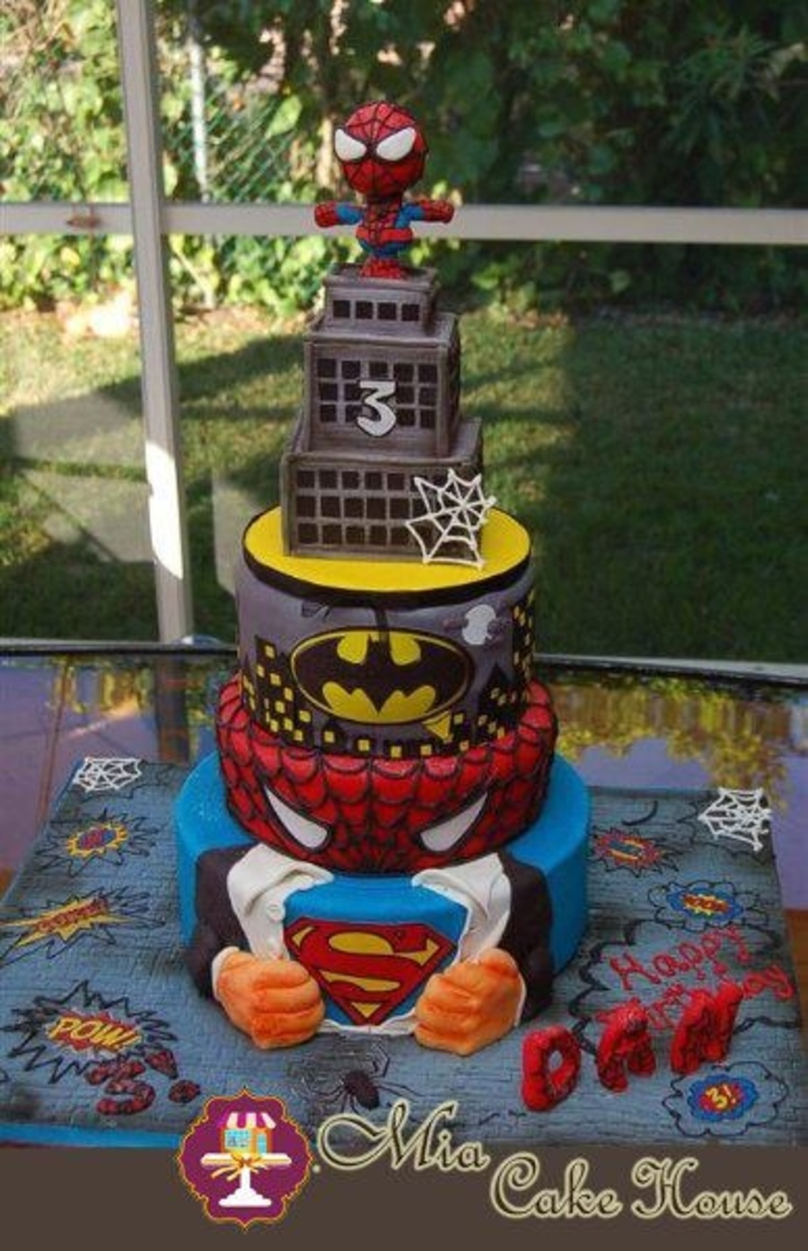 My Son Wanted 3 Different Cakes For His Birthday Party Spiderman Batman And Superman We Decided To Design A Cake That Includes His Three on Cake Central