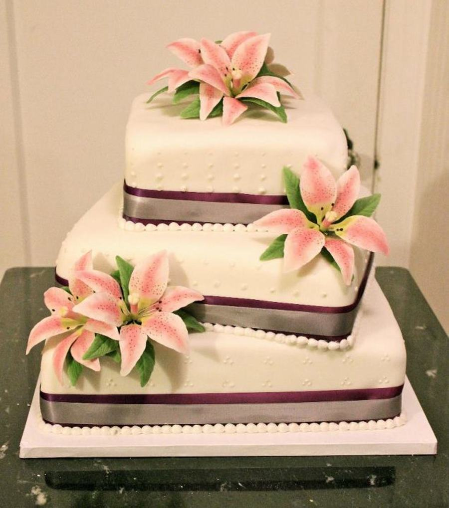 3Tier Wedding Cake With Gum Paste Lilies CakeCentralcom - Wedding Cake With Lilies
