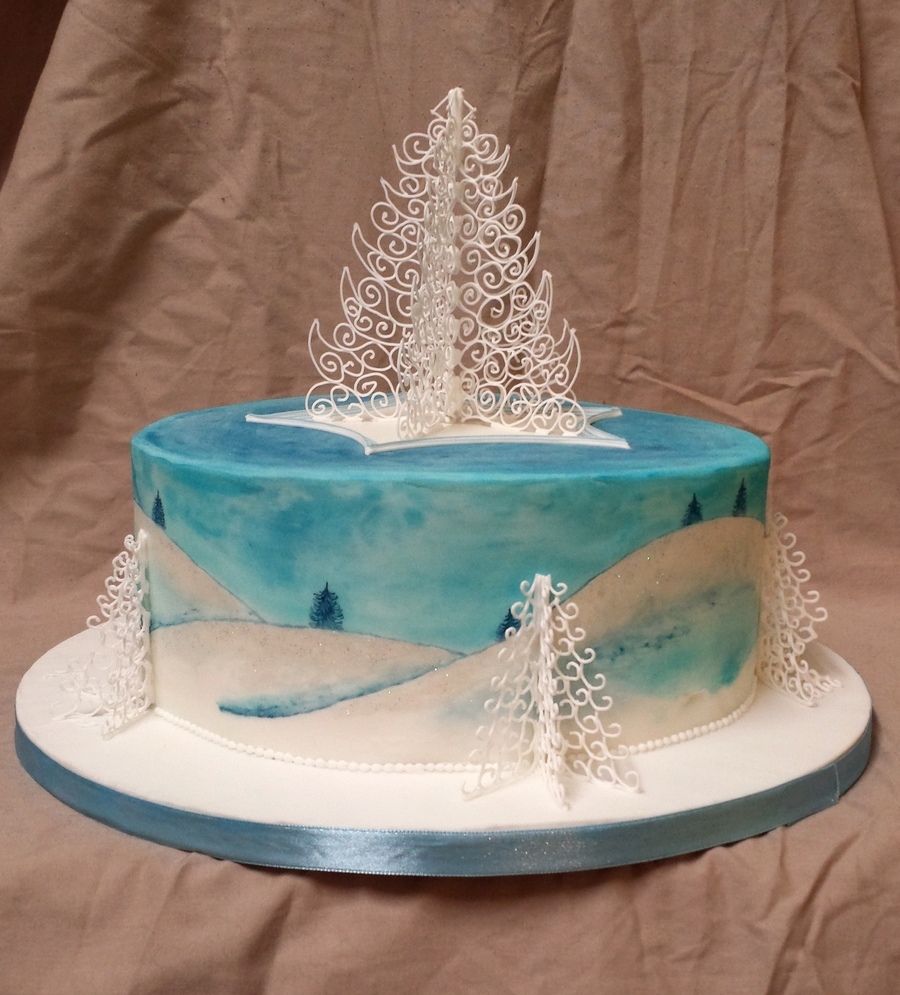 Traditional Royal Icing Christmas Cake Hand Painted With