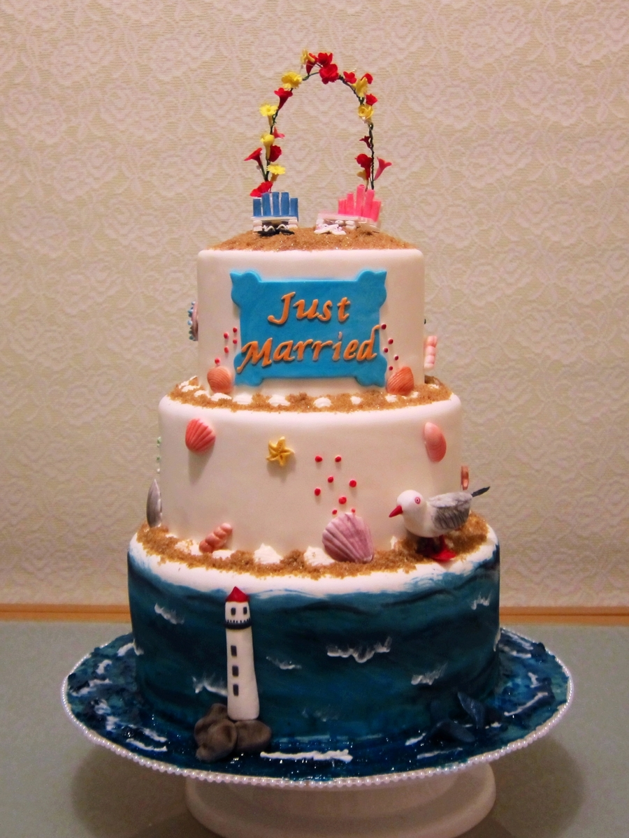 Beach/ocean Theme Wedding Cake on Cake Central