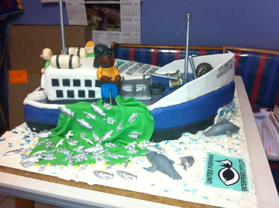 Fishing Trawler Cake For Retirement on Cake Central