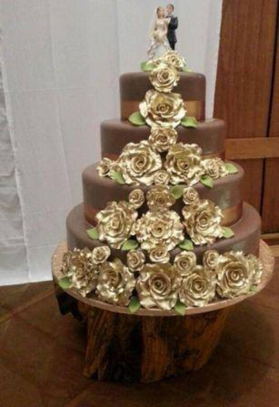 4 Tier Chocolate Fondant Covered Wedding Cakes With Hand