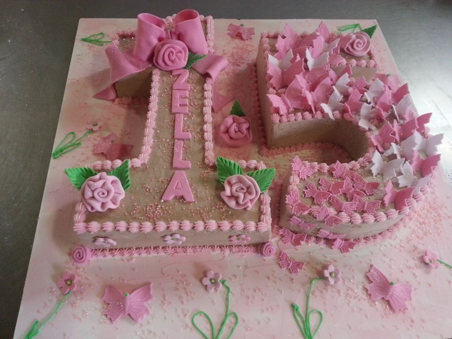 Pleasing Number 15 Birthday Cake With Butterflies Cakecentral Com Funny Birthday Cards Online Eattedamsfinfo