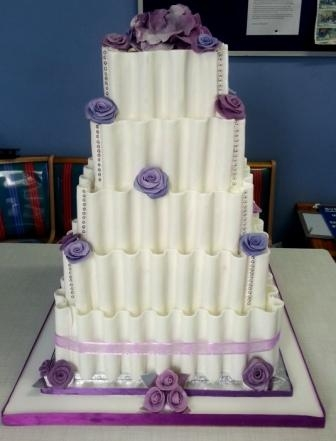 3tier Sea Themed Wedding Cake With Purple Shells Cakecentral
