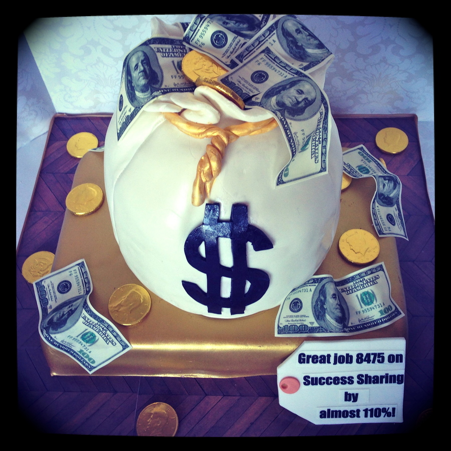 I Made This Cake For My Local Home Depot To Celebrate Their Sales Success Money Bag And Gold Brick Are All Cake The Money Is Edible Images... on Cake Central