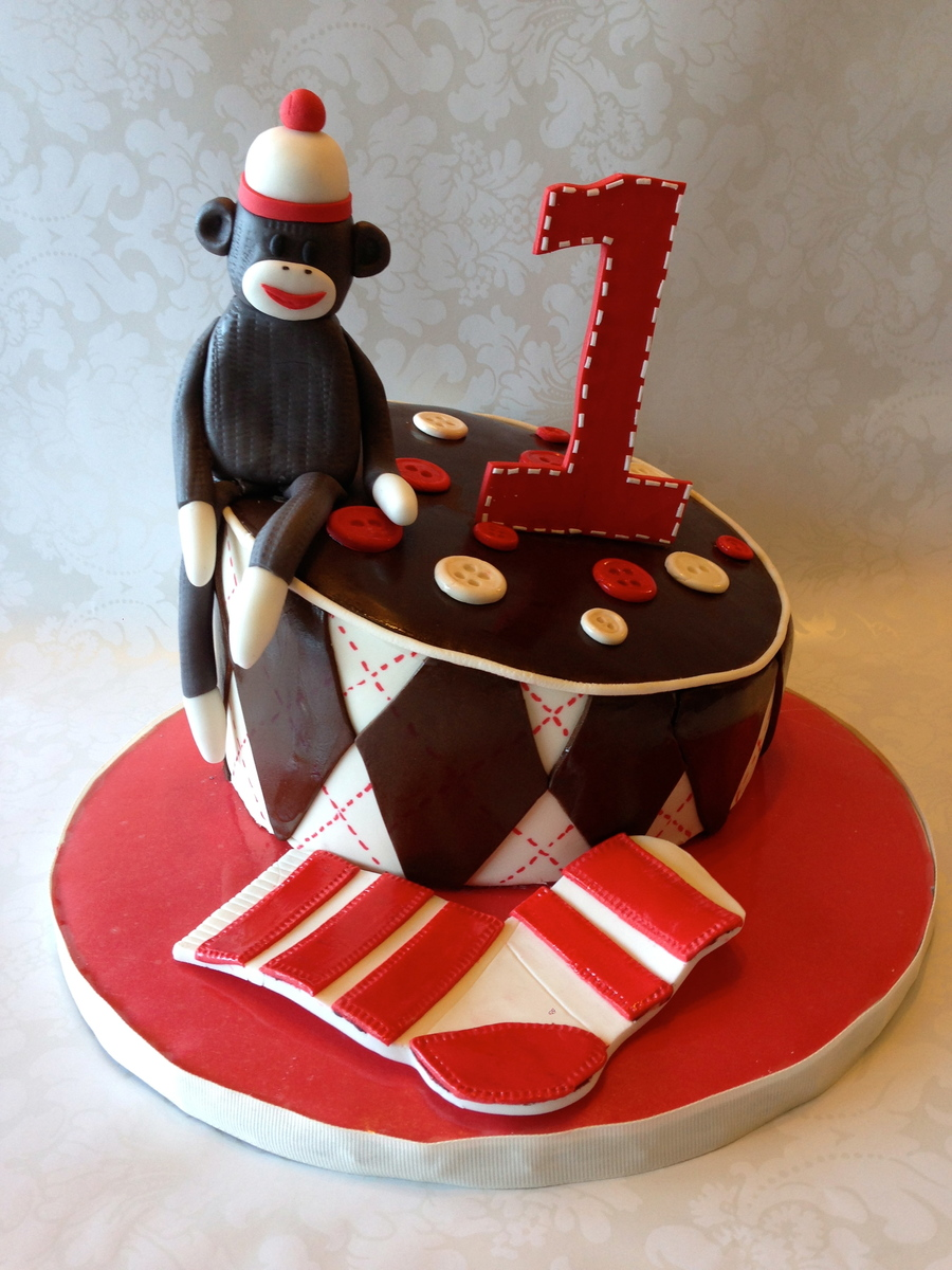 Sock Monkey 1St Birthday Cake  on Cake Central