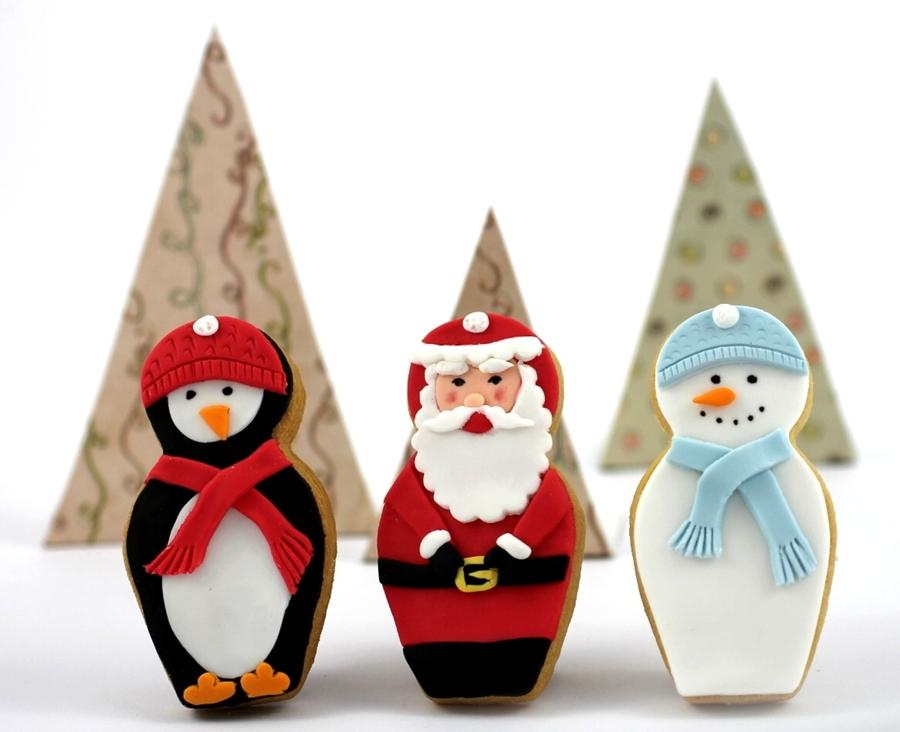 Penguin Santa And Snowman Nesting Doll Christmas Cookies