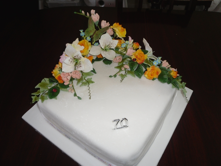 70Th Birthday Cake With Gumpaste Flowers on Cake Central