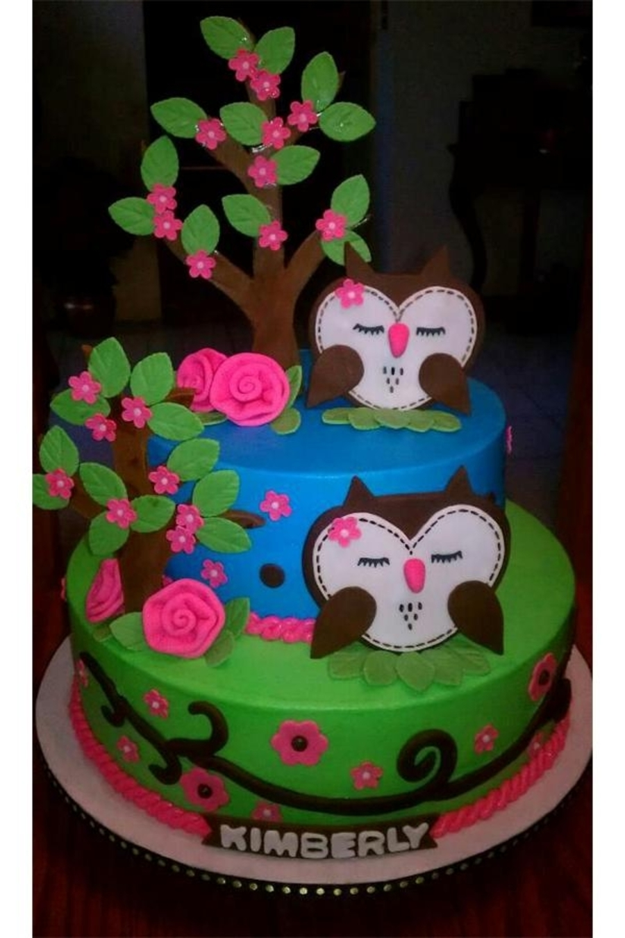 Owls And Blooming Trees on Cake Central