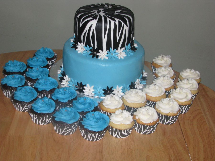 Zebra Wedding Cake And Cupcakes on Cake Central
