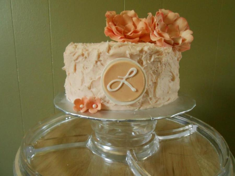 Mothers Day Cake Peach Colored Almond Swiss Meringue Buttercream With Sugar Flowers And Monogram on Cake Central