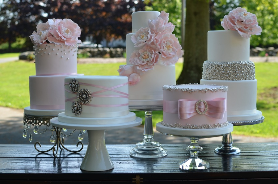 Blush And Silver Wedding Cakes With Sugar Peonies