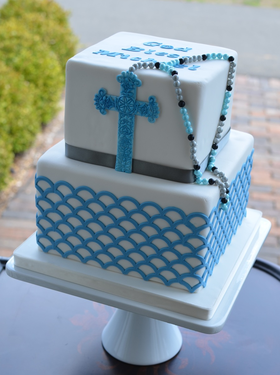 Confirmation Cake With Cross And Rosary Beads
