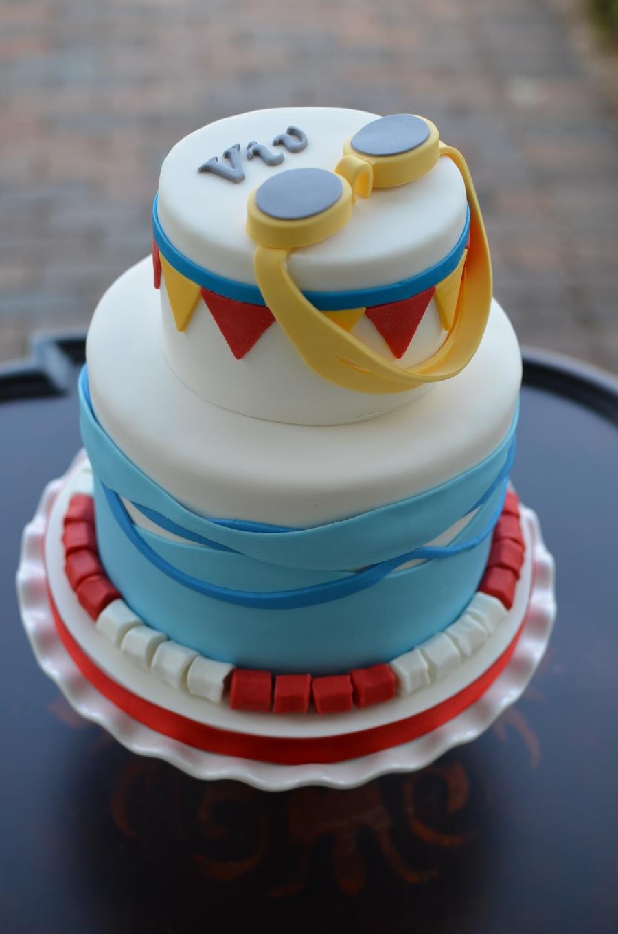 Swim themed birthday cake - Swimming pool birthday cake pictures ...