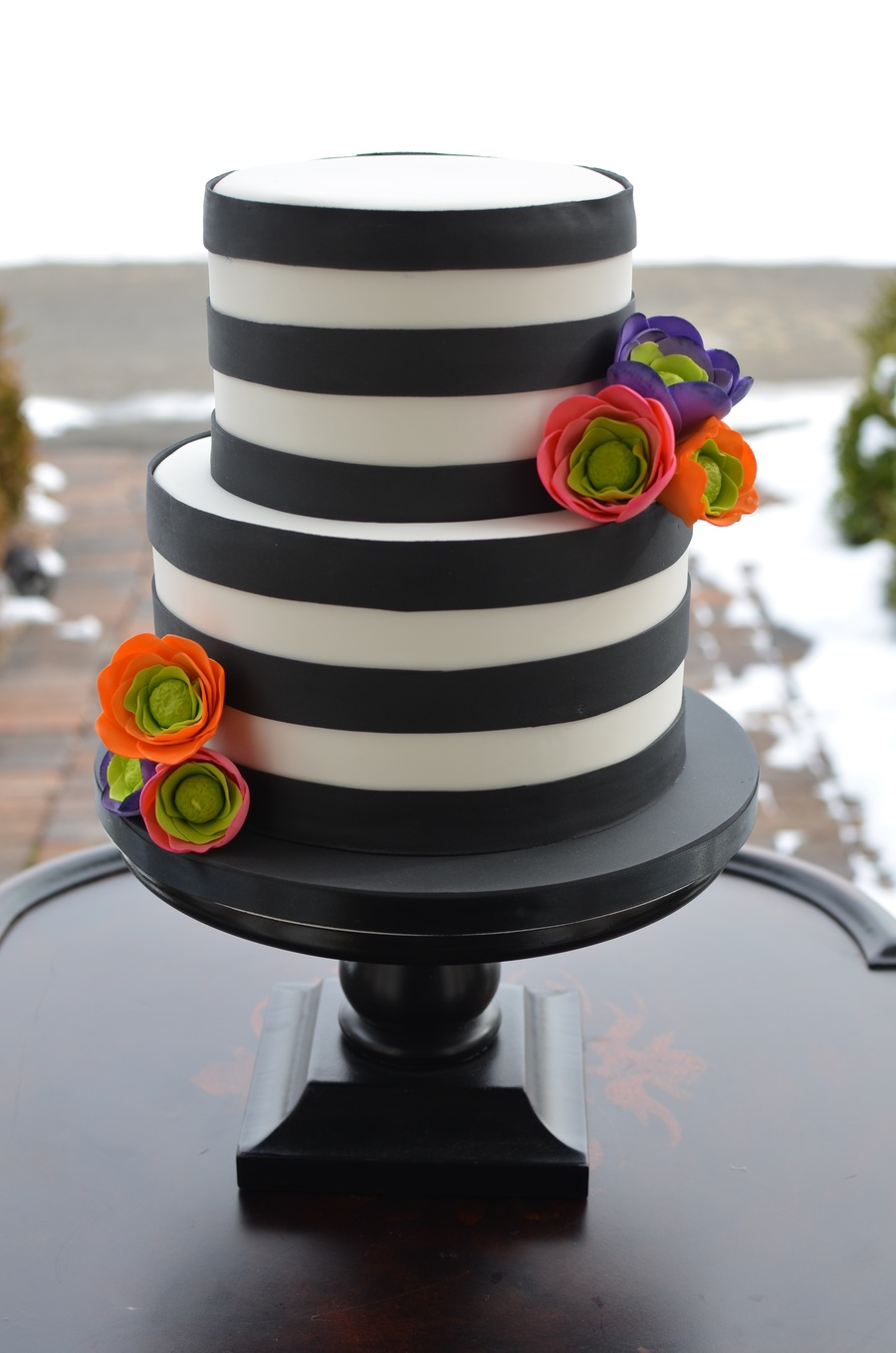 Black and white striped cake with brightly colored sugar flowers black and white striped cake with brightly colored sugar flowers on cake central mightylinksfo