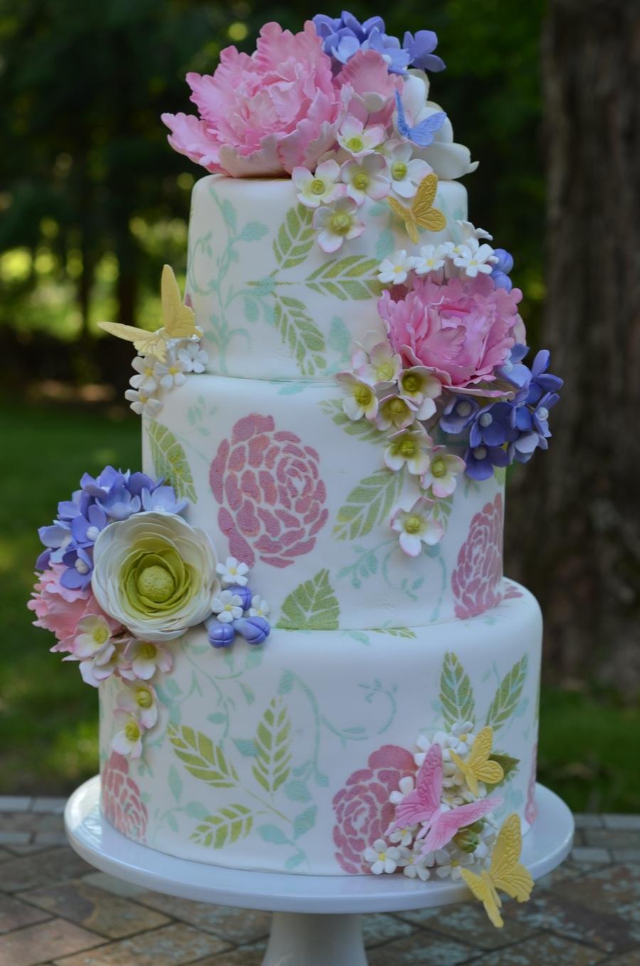 Garden Wedding Cake With Gumpaste Flowers - CakeCentral.com