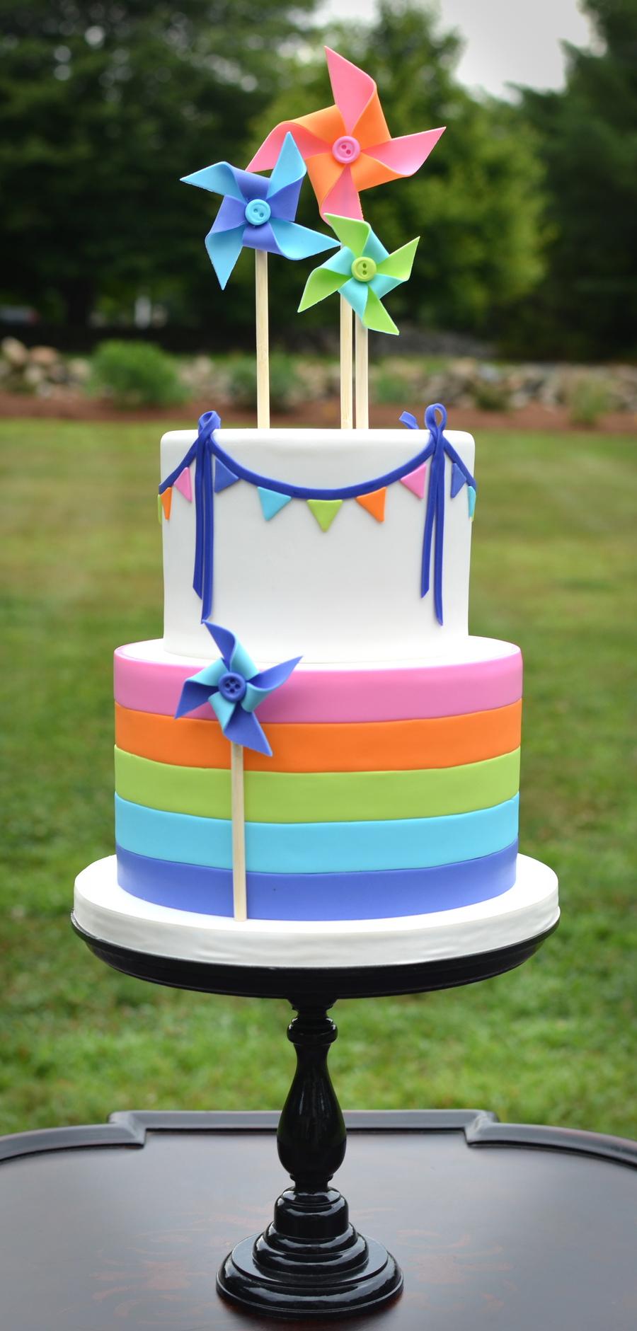 Pinwheels And Rainbow Stripes on Cake Central