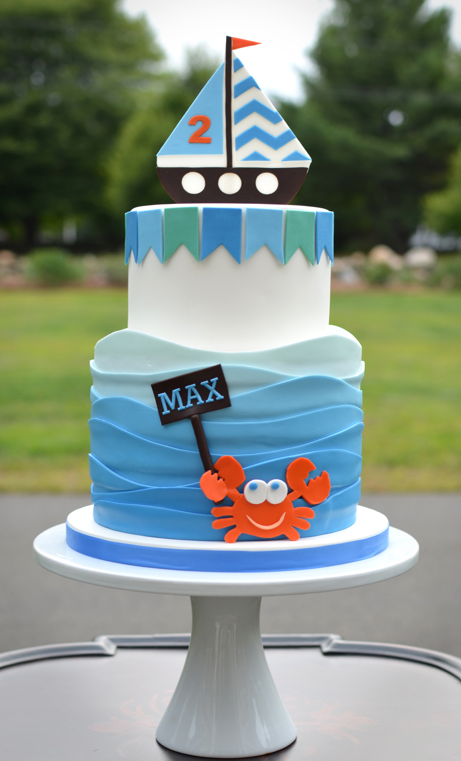Amazing Fun 2 Year Old Birthday Cake With Waves Sailboat And Crab Funny Birthday Cards Online Elaedamsfinfo