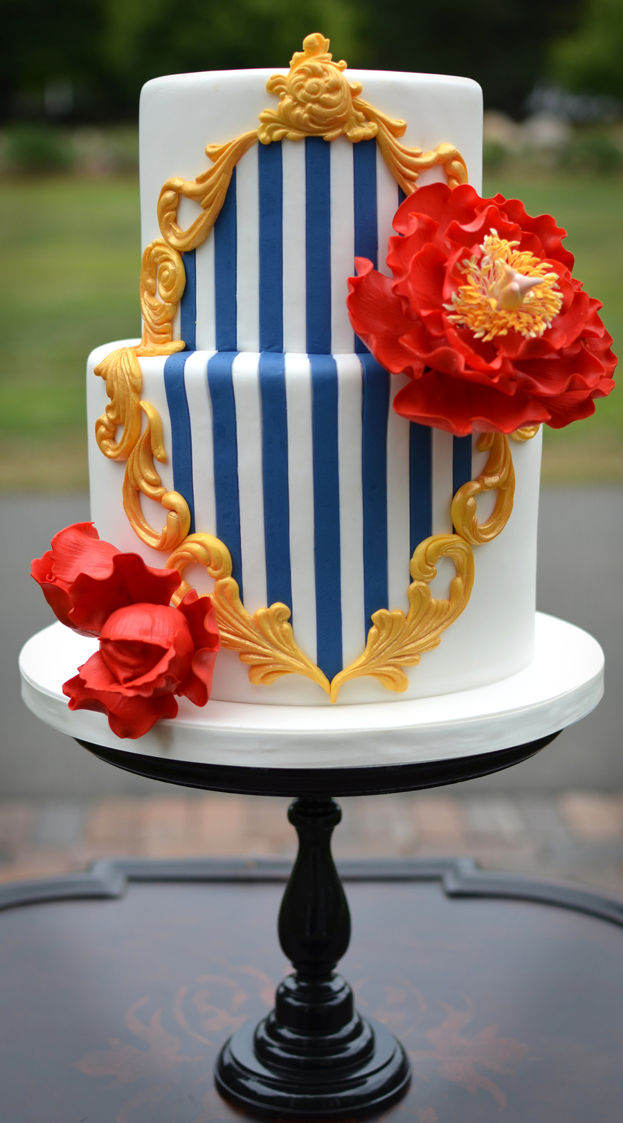 Red White Blue And Gold Wedding Cake Cakecentral Com