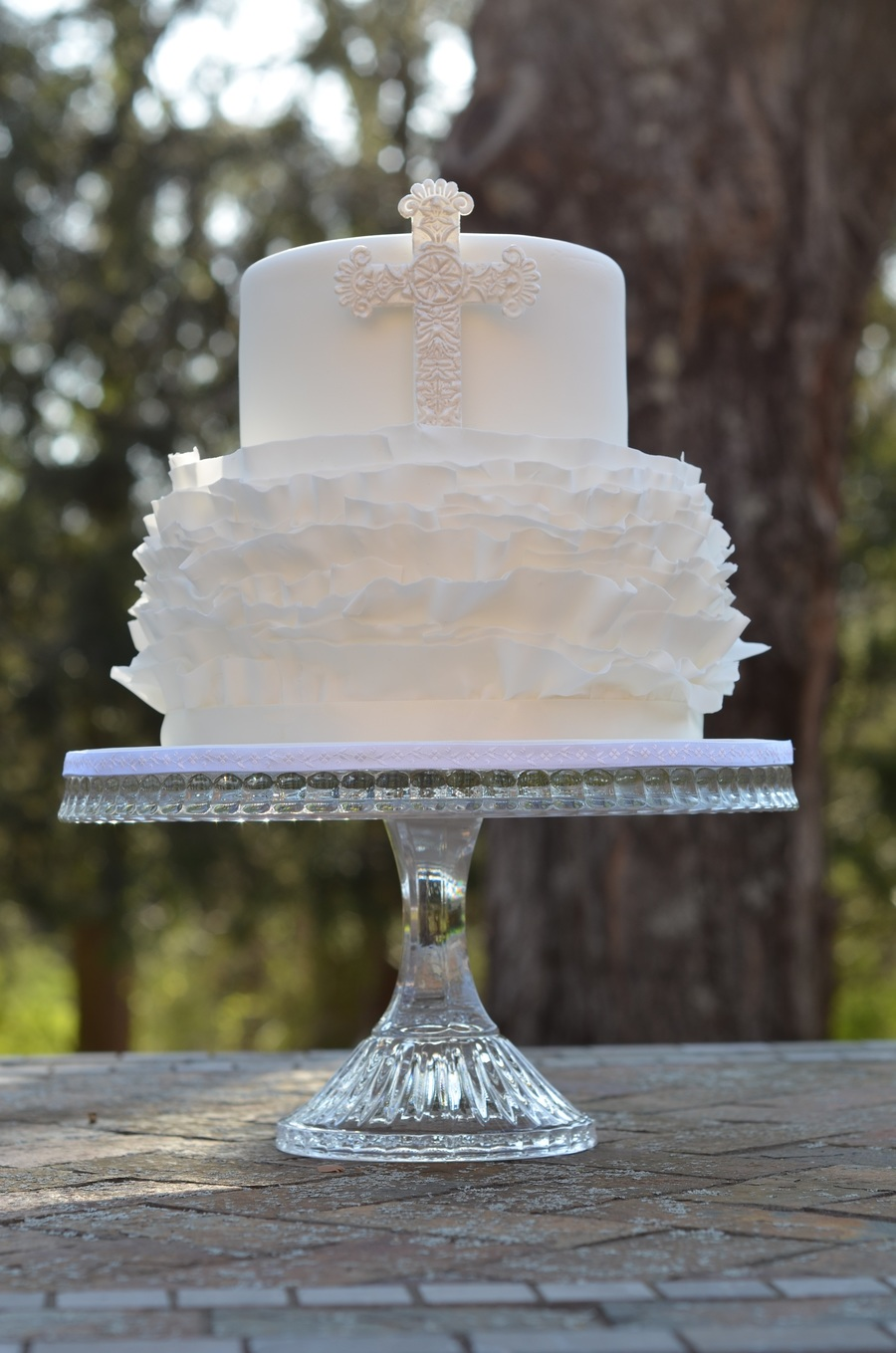 First Communion Cake With Fondant Ruffles on Cake Central