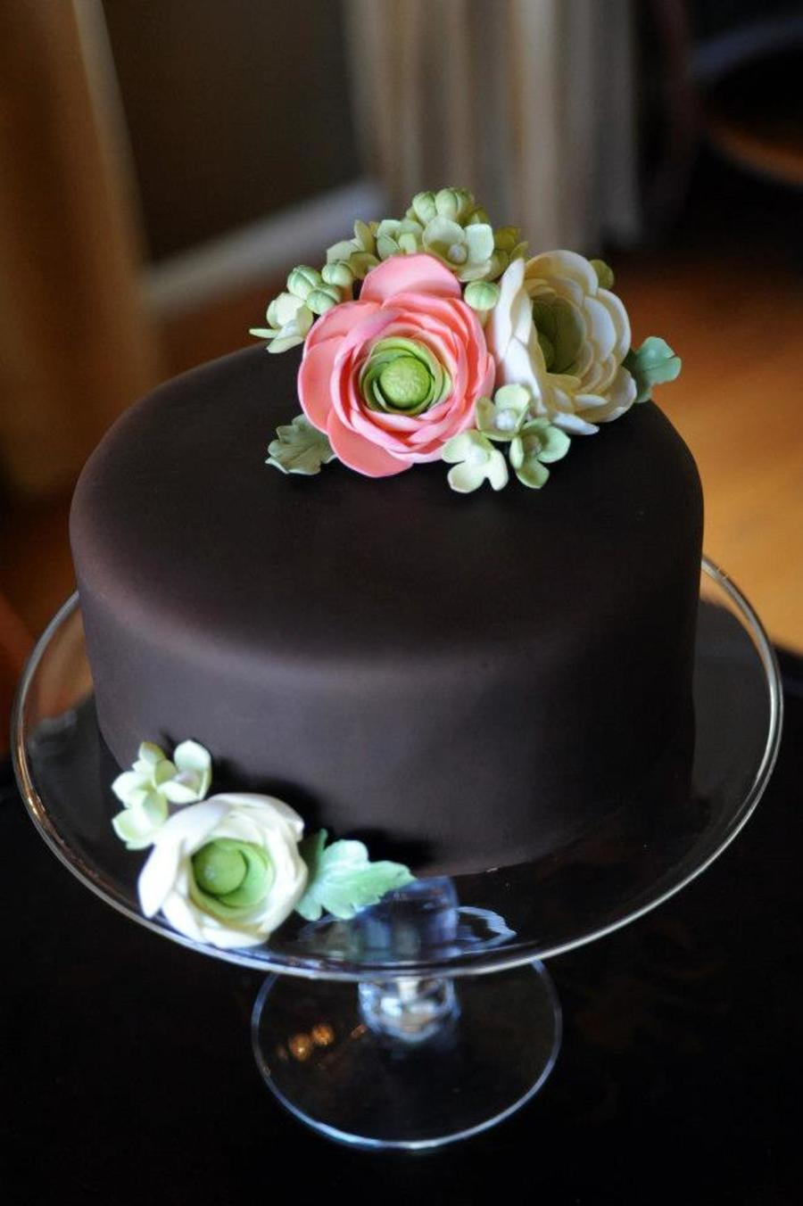 Gumpaste Flowers On Chocolate Fondant Cake - CakeCentral.com
