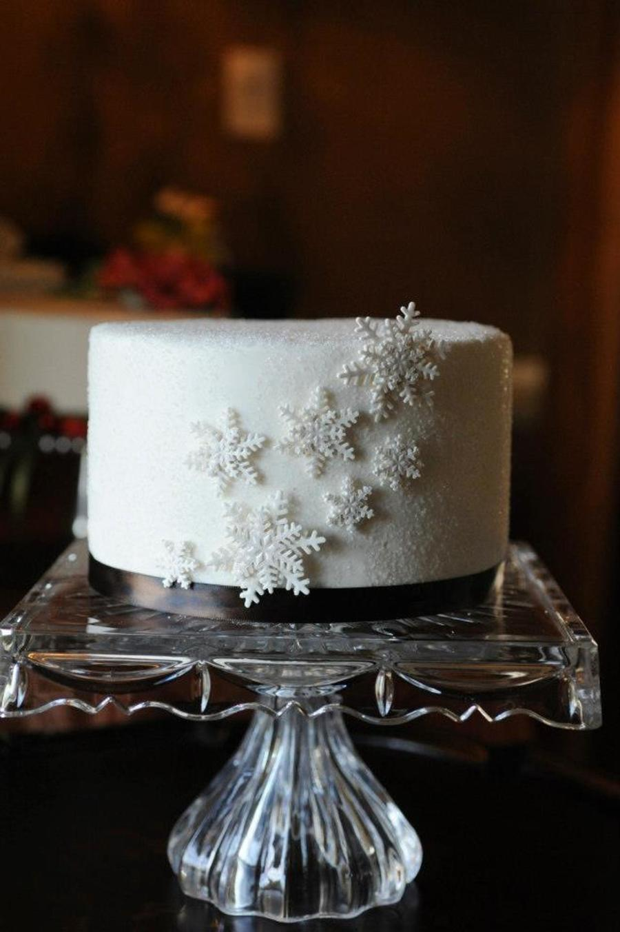 Gumpaste Snowflakes On Fondant Cake Covered In Sanding Sugar on Cake Central