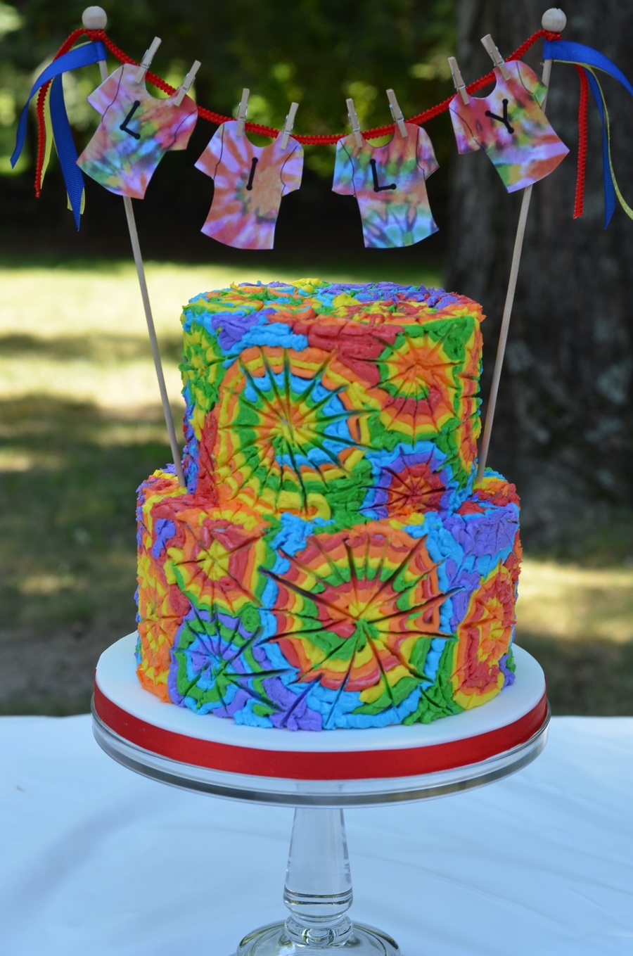 Astounding I Made This Cake For A Tie Dye Birthday Party The Cake Is Tie Dye Personalised Birthday Cards Paralily Jamesorg