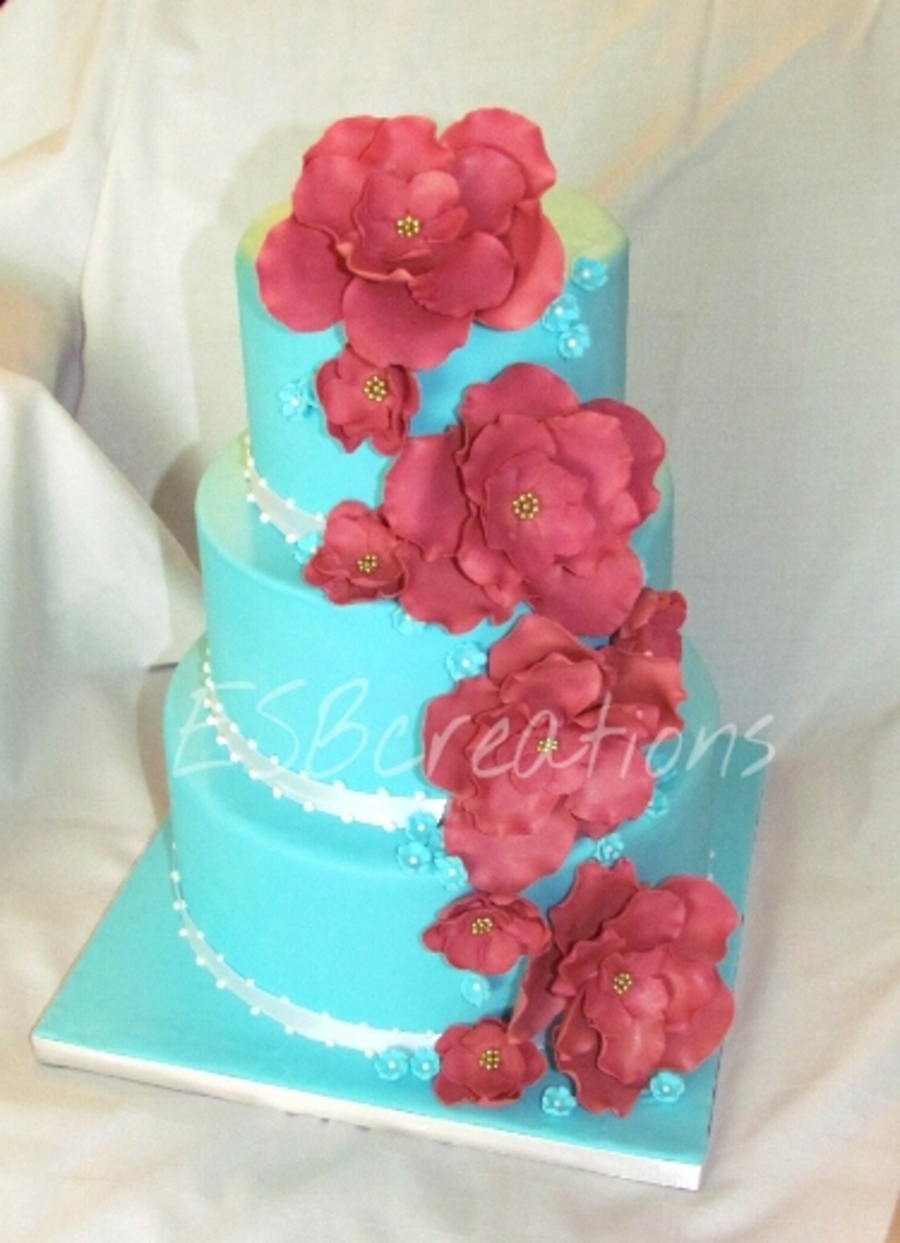 Blue Wedding Cake With Pink Flowers Cakecentral