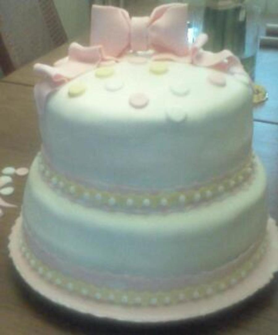 Pink And Yellow Baby Shower Cake on Cake Central