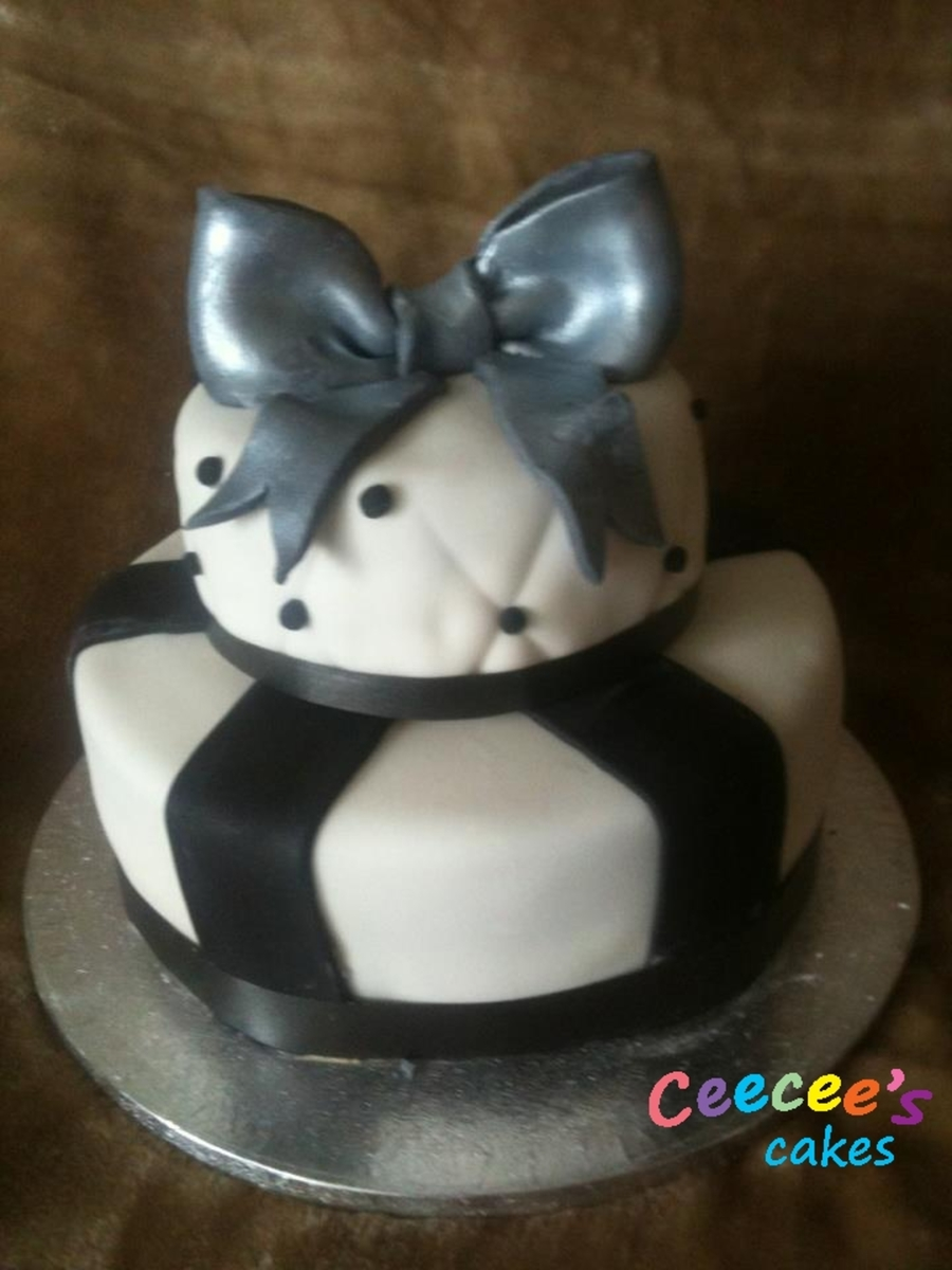 Silver Black And White Cake on Cake Central