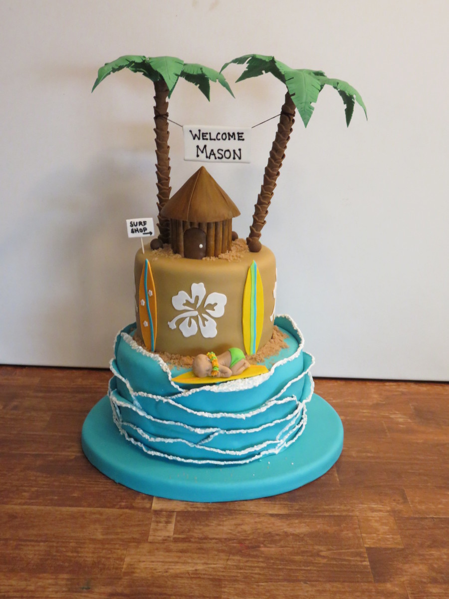 Surfboard Baby Shower Cake on Cake Central
