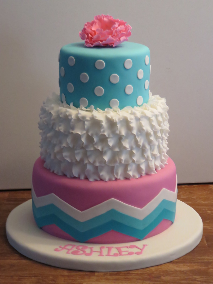 Pink And Aqua Blue Birthday Cake on Cake Central