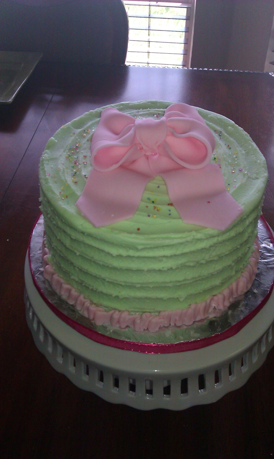 Green/pink Cake For A Soroiety Tea on Cake Central