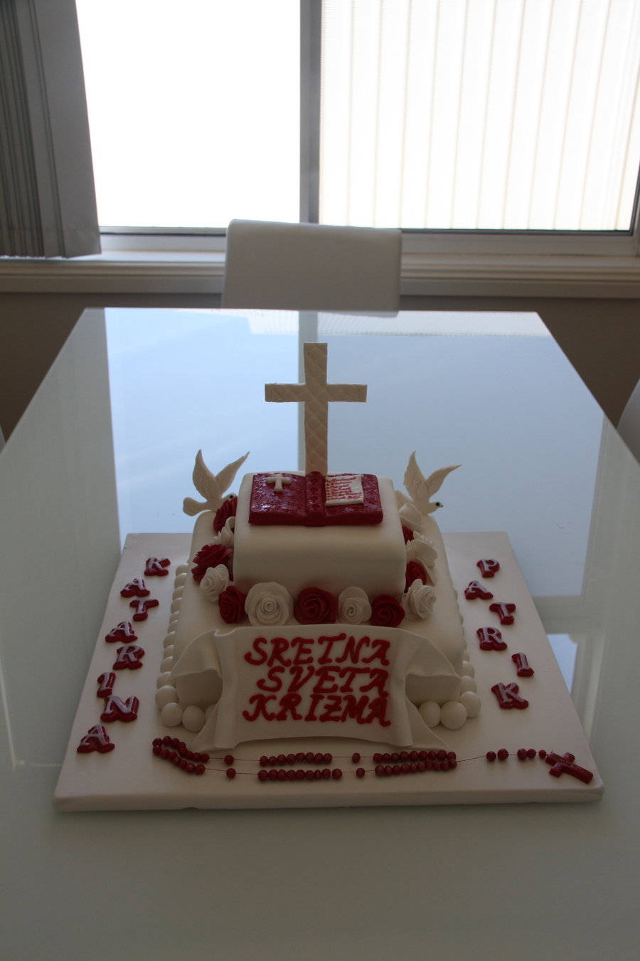 Cake Decoration Rosary Beads : Confirmation Cake W/ Rosary Beads And Doves - CakeCentral.com