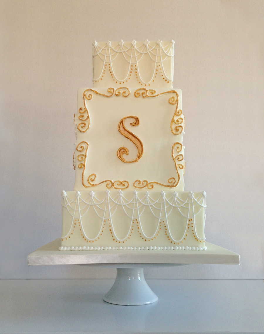 Wedding Cake For My First Competition Piped S Initial With ...