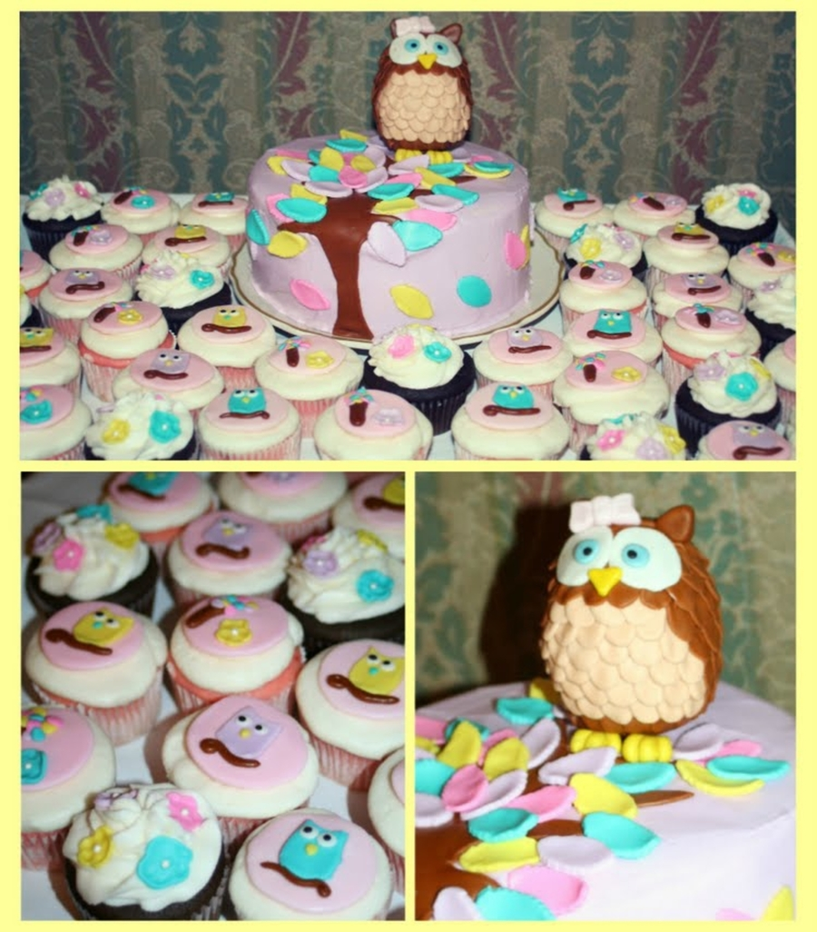 Owl Cake And Cupcakes on Cake Central