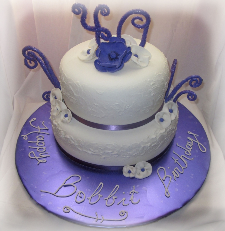 40th Purple White Birthday Cake Cakecentral Com