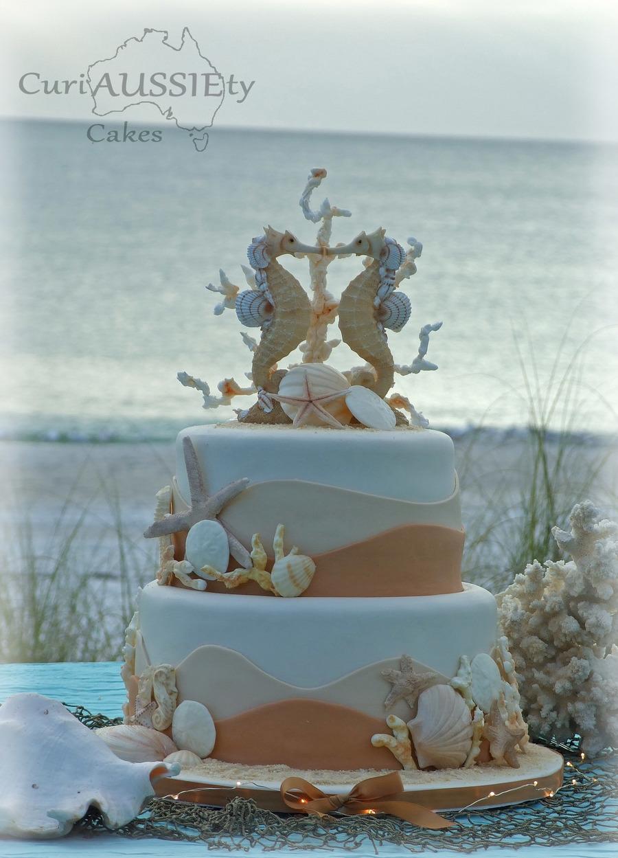 Sea Horse Beach Theme Wedding Cake Cakecentral
